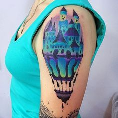 Emerald Castle Tattoo by Ilona Kochetkova #AbstractTattoo #GraphicTattoos #ModernTattoos #ColorfulTattoos #BirghtTattoos #Minsk #ModernTattooArtists #IlonaKochetkova