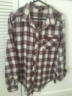Next Women's / Girls Long sleeved Wine Red Check Shirt / Top Size 10  #Next #Basic #AnyOccasion