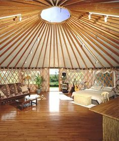 This is a modernized Mongolian yurt. These structures are one of the most amazing temporary/sustainable designs, as it is easy to break down and reassemble at another location. These houses can be winterized for Canada, and/or made permanent with laid floors, water and electrical systems.
