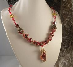 Red and Gold Crystal Wire Wrap necklace