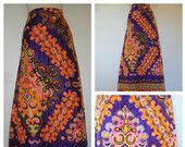 70s maxi skirt, Bollywood psychedelic quilted print, boho chic fabulous full length skirt.