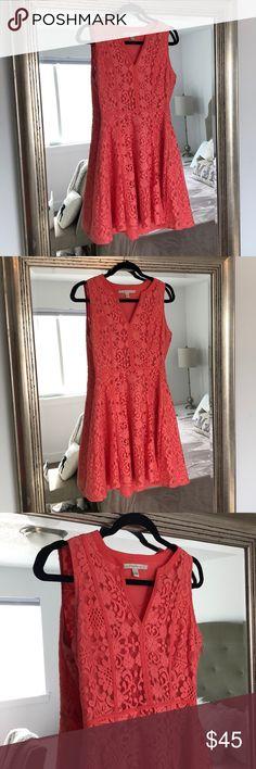 Lauren Conrad V Neck Lace Coral Dress Lauren Conrad V Neck Lace Coral Dress LC Lauren Conrad Dresses Mini
