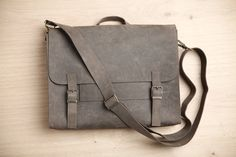 Satchel bag form men Gray leather student backpack by EMILISTUDIO