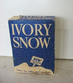 Vintage 1930 Unopened Box of Ivory Snow Soap Powder for the Laundry Room, Blue and White. $24.50, via Etsy.