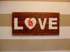 St. Louis Cardinals Love Wooden Sign - Hand Painted, Can be Customized for any Team via Etsy
