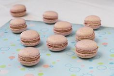strawberry macarons; shells made with powdered freeze-dried strawberries filled with a white chocolate strawberry jam whipped ganache
