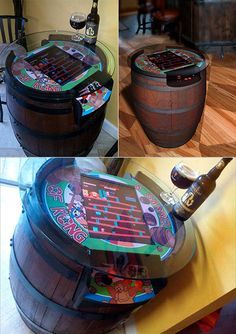 How awesome is this custom-built Donkey Kong tabletop arcade machine conversion. The idea was to make a fully fuctional game of Kong into an old barrel that you can happily have beer and cocktails on. It was built by Joel Griffin Dodd, who is no stranger to some kickass cabinet builds, but this one I am pretty sure I could not jump over.