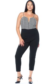 b50b34b5662 Ladies Plus Size Houndstooth Balck And White Jumpsuit  fashion  clothing   shoes  accessories