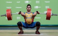 Ecuador's Wilmer Contreras competes in the men's 94kg weightlifting final of the South American Championship, as a test event for the 2016 Olympic Games, in Rio de Janeiro