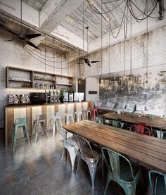 Rustic coffee shop decoration ideas 2 - Savvy Ways About Things Can Teach Us Restaurant Design, Restaurant Bar, Restaurant Lighting, Rustic Coffee Shop, Coffee Shop Design, Design Loft, Cafe Design, House Design, Deco Cafe