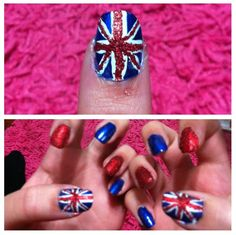 My one direction concert nails I painted on myself(: