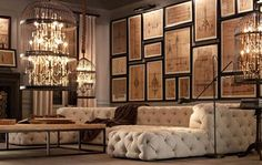 DIY Idea: Beautiful Vintage Birdcage Chandeliers : TreeHugger uhhh. Is it the lighting? The couch? The displayed framed pics? I would have to live in a palace!