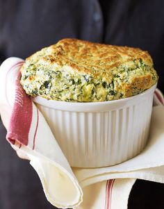 A spinach and cheddar soufflé to serve at your next dinner party.