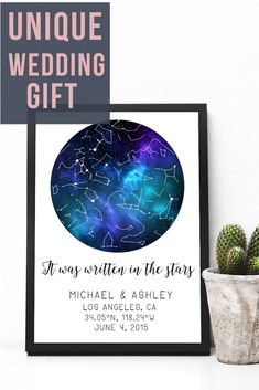 Are you looking for a one of a kind night custom Printable Sky Map? This night sky print makes an amazing gift or a great way to relive life's greatest moments! Relive that special day over and over again with this custom star map!  #starmap #customgift #wedding #starmap #skymap #printable #cute #constellation #print #NightSkyPrintable