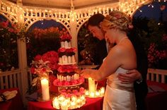Weddings | Romantic cake cutting at the Mill Rose Inn, Half Moon Bay, CA.