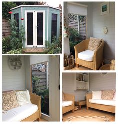 Our corner summerhouses have been designed to maximise your outside space. We love the neutral decoration of this customer's summerhouse, perfect for relaxing and enjoying the views of the garden.