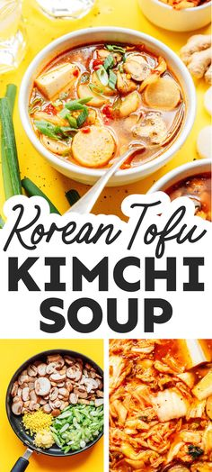 Loaded with flavorful veggies, silken tofu, and kimchi, this Kimchi Soup recipe (Kimchi-jjigae) is an easy vegetarian stew for busy weeknights! Packed with flavor, healthy, and perfect for the whole family. #koreanfood #soup #stew #kimchi #vegan # vegetarian Best Soup Recipes, Healthy Soup Recipes, Chili Recipes, Dinner Recipes, Asian Recipes, Vegetarian Stew, Low Carb Vegetarian Recipes, Vegan Soups, Vegan Dishes