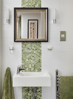 Zimbabwe-born Interior Designer Nicola Holden. #green #mosaic #bathroom