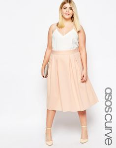 Image 1 of ASOS CURVE Midi Prom Skirt with Box Pleats