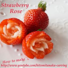 Strawberry Roses, Fruit Decorations, Fruit Art, Food Art, Cake Decorating, Cooking, Desserts, How To Make, Foods