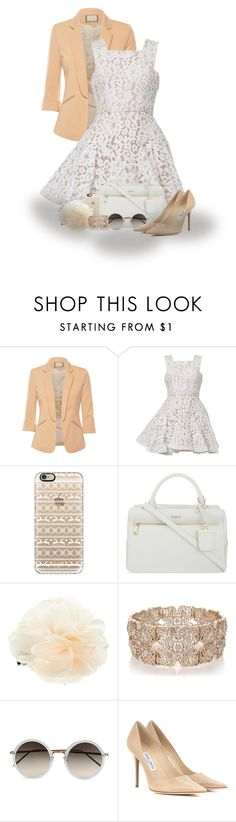 """White Dress"" by abigaillieb ❤ liked on Polyvore featuring Alex Perry, Casetify, DKNY, Accessorize, Oasis, Linda Farrow, Jimmy Choo, women's clothing, women and female"