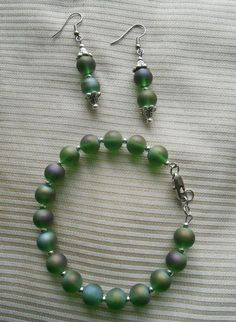 Green Iridescent Glass Bead Set