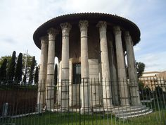 Temple of Hercules Victor, Rome, Italy.   This temple was also greatly preserved due to it's transformation into a church. The Temple of Hercules has 20 Corinthian style columns and dates anywhere back from the early 1st century to the late 2nd century. http://www.roman-empire.net/articles/article-020.html