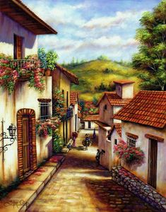 Calle Scenery Paintings, Landscape Paintings, Pintura Colonial, Mexican Paintings, Image Nature, Art Pictures, Photos, Mexican Art, Beautiful Paintings