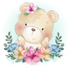 Cute Little Bear Design Bandana Watercolor Flower Background, Floral Watercolor, Cute Drawings, Animal Drawings, Cute Images, Cute Pictures, Photo Ours, Baby Animals, Cute Animals