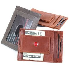 fa91da132c4 Leather Money Clip Magnet Slim Thin Front Pocket Wallet Alpine Swiss ID    Cards