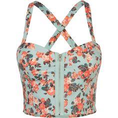 FULL TILT Floral Zip Front Corset ($22) ❤ liked on Polyvore