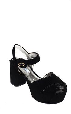 Black Velvet Platform Sandals from Prada
