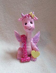 *POLYMER CLAY ~ dragon birthday cake topper decoration children sculpture polymer clay 1 1st first