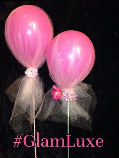 Set of 3 tulle balloon ensembles by GlamLuxePartyDecor on Etsy