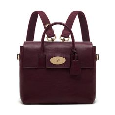 I want this Mulberry bag soooo much! ♡ - Cara Delevingne Bag in Oxblood Natural Leather Rucksack Bag, Backpack Purse, Leather Backpack, Cara Delevingne, Bordeaux, Purple Handbags, Purple Purse, Backpacks, Handbags