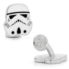 NIB Officially Licensed Star Wars Storm Trooper Head Cufflinks Approximately x Rhodium plated base metal and enamel Fixed logo back closure Officially licensed by Lucasfilm LTD Comes in Brand Star Wars Box Designer Cufflinks, Star Wars Gifts, Personalized Jewelry, Man Shop, Stars, Disney, Stuff To Buy, Dark Side, Enamel