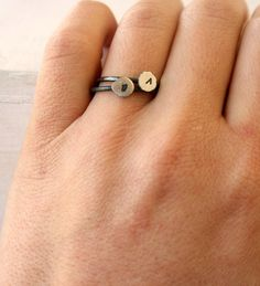 Initial stacking ring /recycled fine silver ring / lowercase letter ring sterling silver monogram ring Handmade. $29.00, via Etsy.