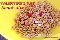Heart shaped oat cereal + m & m's