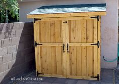 Use cedar picket fence planks to build this storage shed, with plans from Ana White