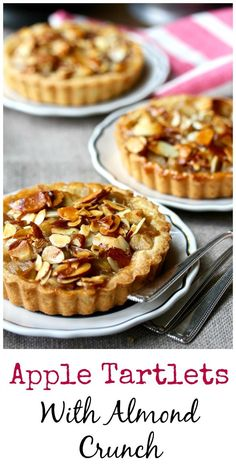 Apple Tartlets with an Almond Crunch Topping Individual apple tarts with an almond topping Tart Recipes, Apple Recipes, Sweet Recipes, Baking Recipes, Dessert Recipes, Fudge Recipes, Curry Recipes, Apple Desserts, Mini Desserts