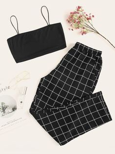 Shop Cami Top & Plaid Pants PJ Set at ROMWE, discover more fashion styles online. Cute Lazy Outfits, Teenage Outfits, Edgy Outfits, Retro Outfits, Outfits For Teens, Girls Fashion Clothes, Teen Fashion Outfits, Girl Fashion, Tween Fashion