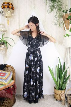 Bohemian goddess maxi dress 70s black floral gown  #renewvintage