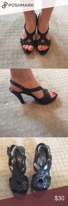 """Ralph Lauren Black Leather Heels Women 6.5 Ralph Lauren Black Leather Strappy Heels with 1"""" platform and 3.5"""" heel. Great Condition. Ralph Lauren Shoes Heels"""