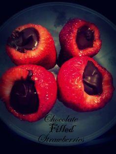Chocolate Filled Strawberries  #vegan