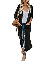Women's Casual Solid Knit Long Open Front Lightweight Pocket Cardigan Sweaters Cardigan Sweaters, Women's Casual, Fashion Boutique, Sweaters For Women, Leather Jacket, Pullover, Pocket, Clothes For Women, Amazon