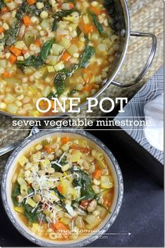 Healthy one-pot minestrone soup recipe. Easy to make AND healthy!  Full of veggies.