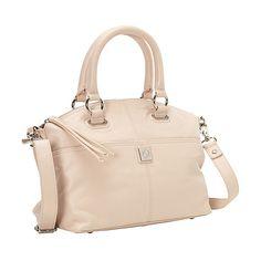 Piazza Lucca Satchel Satchel ($93) ❤ liked on Polyvore featuring bags, handbags, leather handbags, pink, pink studded purse, studded purse, studded handbags and satchel handbags