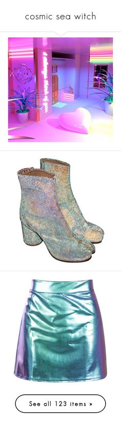 """cosmic sea witch"" by my-dog-loves-peep ❤ liked on Polyvore featuring shoes, boots, ankle booties, heels, footwear, glitter ankle booties, glitter heel boots, maison margiela boots, glitter booties and heeled booties"