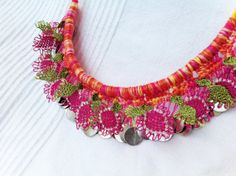 Pink Flower Batik Crochet Lace Necklace  Needle Lace by ellascolor, $25.00