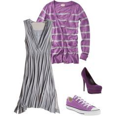 gray dress, created by lisa-trent.polyvore.com